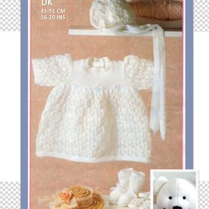 Lace Dress with bonnet and booties Patons 275