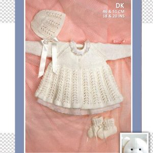 Patons 4218 Lace Coat bonnet and booties