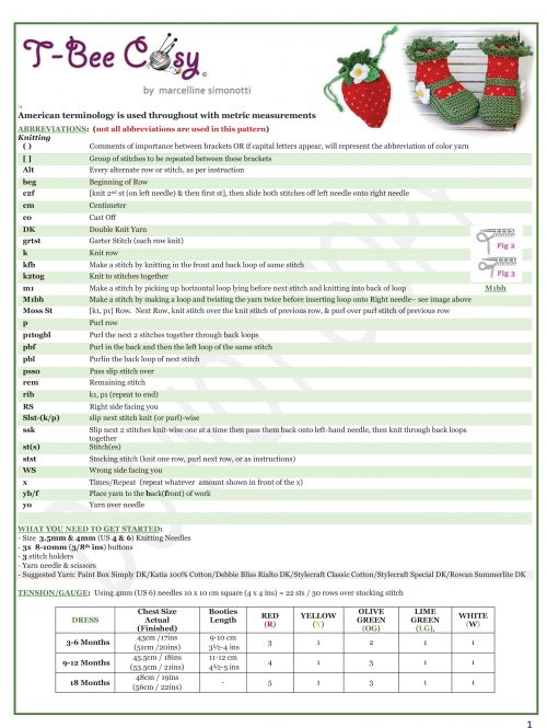 strawberry booties and pouch info sheet