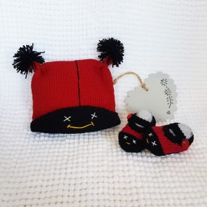 ladybug booties and cap