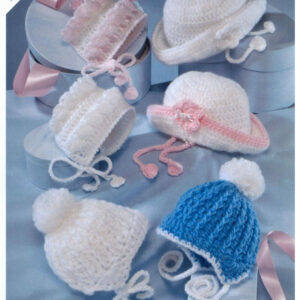 5 Crochet hats for baby in DK Aran yarn