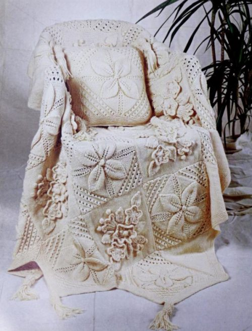 Floral Applique Blanket PLUS Pillow