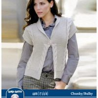 CHUNKY / BULKY – Open Front Cabled Cardigan –  44cm ( 17 1/2 in)