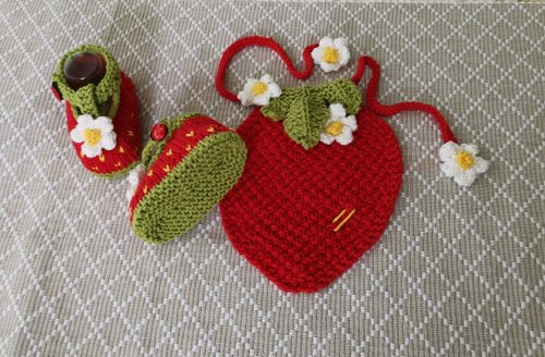 Strawberry Drool Bib and Booties
