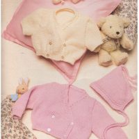 Double Breasted Cardigan, Bonnet and Booties  (0 – 12 months)