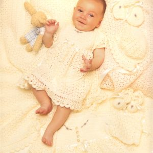 6pce Lacy Crochet Layette  (Sizes: 0, 3 and 6 months)