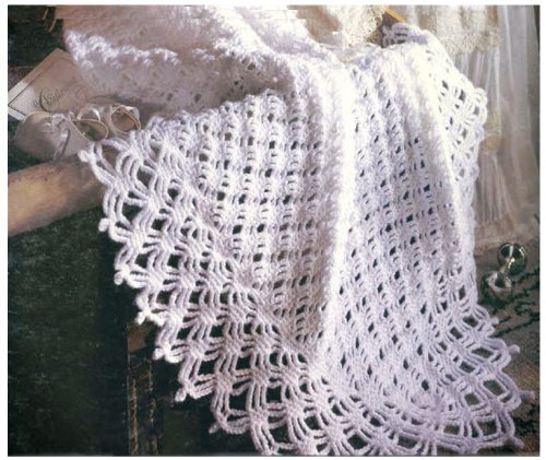 Diamond Lace Crochet Baby Shawl
