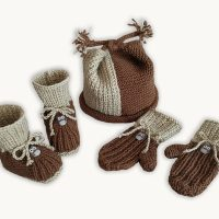 Whoo-Whoo Booties, Cap and Mittens (0-9 months)  -KNITTING –