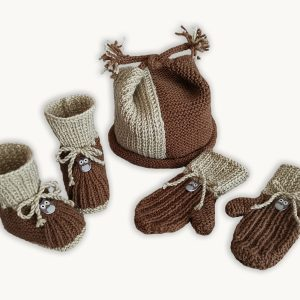 Whoo-Whoo Booties, Cap and Mittens