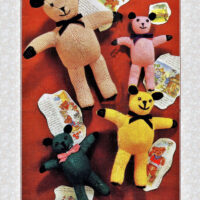Teddy Bear Knitting Pattern to obtain 4 sizes – 11,12,14, and 18 Inches Tall