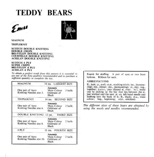Teddy bear in 4 sizes information sheet