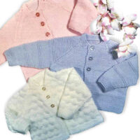 DK 3 Beginners Baby Cardigans to knit for 0 to 12 month babies, 3 sizes  48 – 53 cm / 19 – 21 ins