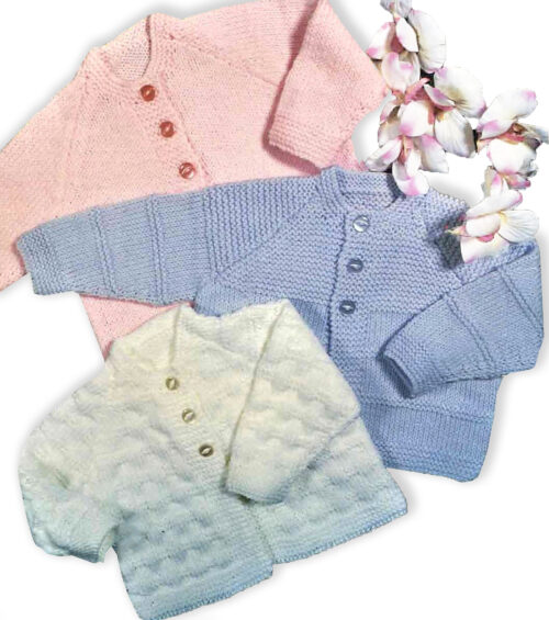 three beginners baby cardigan set