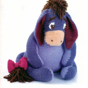 Eeyore, Winnie the Pooh friend, Vintage PDF Crochet Pattern plus accessories, Crochet Butterfly and Bow