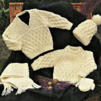 5-pce / 8 sizes Aran knitwear for Kids – V and Round Neck Sweaters, Mittens, Cap, Scarf – 41 – 76cm (16 – 30ins)
