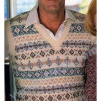 V-Neck Mans Fair Isle Pullover – Size: 34, 36, 38, 40, 42 and 44 inch chest