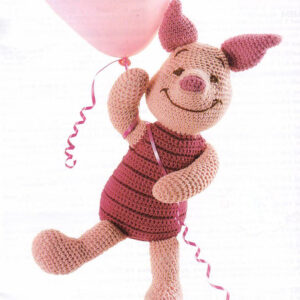 Piglet, Winnie the Pooh friend, Vintage PDF Crochet Pattern plus accessories, Crochet Daisy Flower