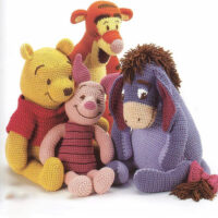 eBook – Winnie the Pooh, Eeyore, Piglet and Tigger – 4 PDF Crochet Patterns plus their accessories