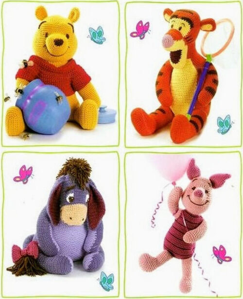 Winnie the Pooh and friends crochet group image
