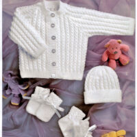 4ply Baby Lace Knitting Pattern, Knitted Cardigan, Bonnet, Booties, Mittens – 31-56cm / 12-22 ins