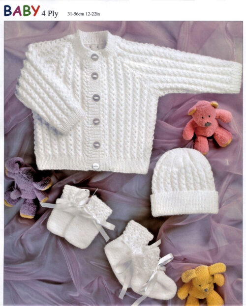 4 ply White baby lace set
