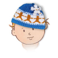 Dancing Bear Beanie Cap for kids up to 6 years KNITTED FLAT in Chunky yarn