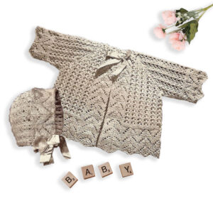 Lace Baby jacket with bonnet