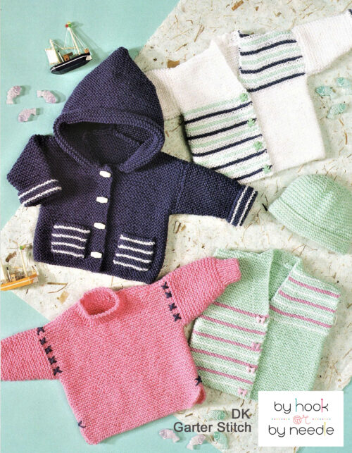 Beginners garter stitch baby sweaters, cardigans and bonnet