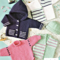 DK – Five Beginners Baby Garter Stitch Knitting Patterns to knit for 0 to 12 month babies, 5 sizes 35 – 55 cm / 14 – 22 ins