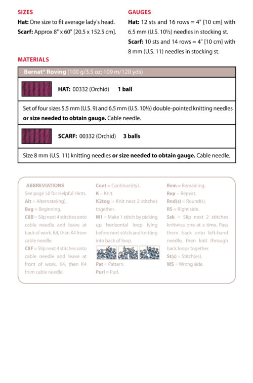 Chunky Cable Cap and scarf info sheet